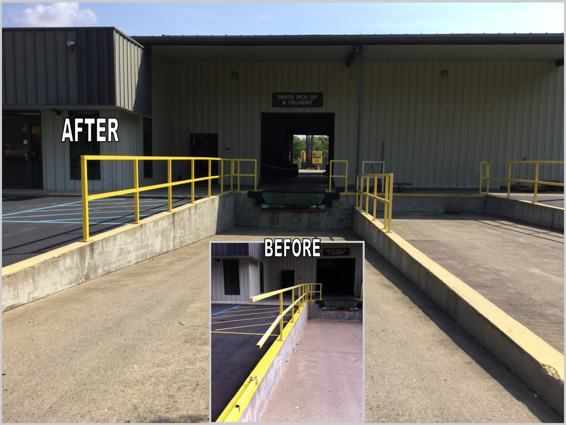 Truck Smashes Handrail At Loading Dock Gef Inc